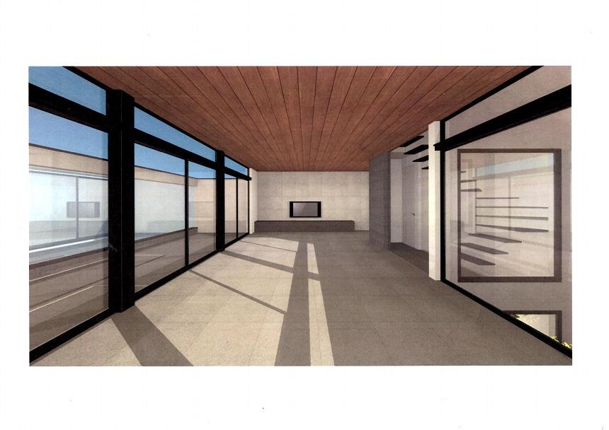 減額シリーズ4 リビングの床タイルと天井フローリング(CG画像)