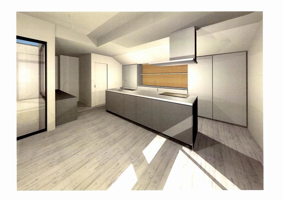 キッチンの天板やシンクの色決定(CG画像)